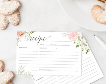 Recipe Card Printable - Printable Recipe Card - Bridal Shower Recipe Cards - 4x6 Recipe Card - Pastel Blush - Creative Union Design