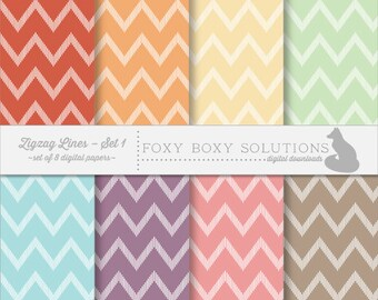 Pastel Zig Zag Chevron Pattern Instant Download Printable Digital Scrapbook Paper for Personal & Commercial Use Set of 8 Scrapbooking Papers