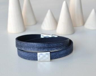 Wabi Sabi Bracelet, Distressed Leather Bracelet, Denim Blue Bracelet, Double Wrap Leather Bracelet