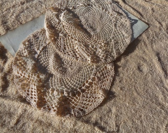 Pair of Vintage Doilies - Off White Circular Crocheted Doilies - for the table or crafts