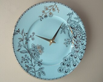 SILENT Soft Teal and Gold Peacock Wall Clock, 11 Inch Porcelain Plate Wall Clock, Peacock Home Decor, Unique Wall Clock  2295