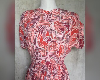 1940s Rayon Novelty Print With Iguanas 34 Bust