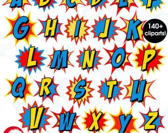 Superhero Letter clipart, Alphabet clipart, Superhero Letter clipart with bursts, School Clipart, commercial use, AMB-1341