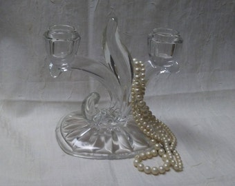 "Vintage GLASS DOUBLE CANDLEABRA, Candleholder, 6"" x 6.5"", Elegant centerpiece, Wedding centerpiece,Vintage"