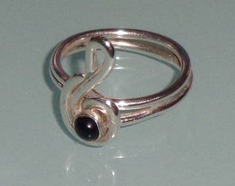 Sterling Silver Black Onyx Treble Clef Ring Music