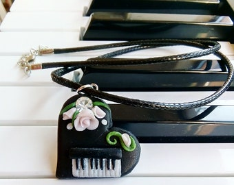 The Piano in a Heart, Gift for Musician, For Her, Handmade Jewelry, Polymer Clay Piano Necklace