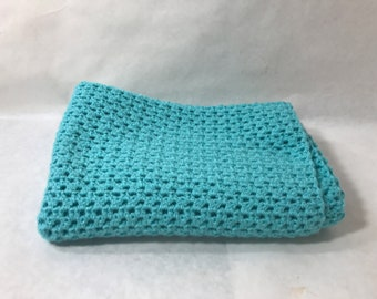 Lap Blanket, Office chair throw, Wheelchair lap cover, Couch throw, Crocheted, Light blue color, Home decor