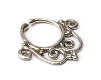Septum Ring Sterling Silver 925 Septum Fake Septum Tribal Jewelery Indian Nose Ring S16 Gift Boxed and Gift Bag Free UK Delivery