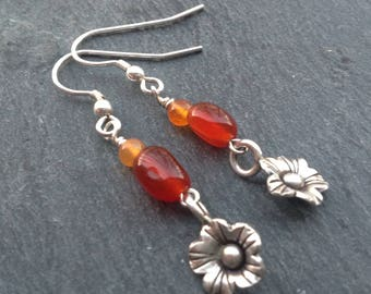 Karen Hill Tribe silver earrings/carnelian gemstone earrings/flower charm/Sterling silver/drop earrings/dangle earrings/gift for her