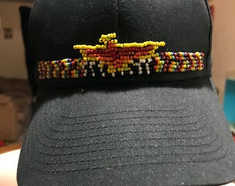 Native inspired thunderbird beaded hat