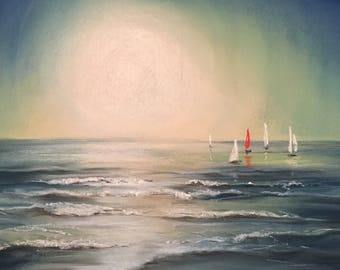 The red yacht,  pastel seascape painting, sunight on water
