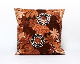 70s Fabric Cushion Cover, Throw Pillow,  Pillow Sham, Brown Accent Pillow, Mid Century Modern, Home Decor, Handmade by EllaOsix