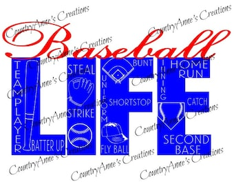 """SVG PNG DXF Eps Ai Wpc Cut file for Silhouette, Cricut, Pazzles, ScanNCut  -""""Baseball Life""""  svg"""