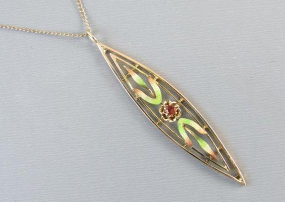 Antique Edwardian 14k gold enamel and garnet pendant necklace