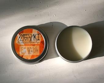 orange lip balm ~ 0.5 oz. \  lip moisturizer \ vegan lip balm \ organic lip balm \ lip butter \ handmade lip balm