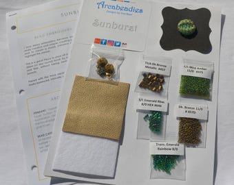 BEADWORK KIT: Sunburst Bead Embroidery Necklace (Green/Gold)