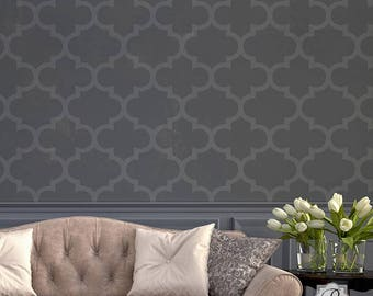 Grenadine Trellis Wall Stencil - Decorating and Painting a Feature Wall with Classic Wallpaper Pattern