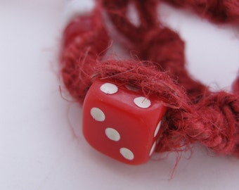 Calling All Gamblers! Try Your Luck Red & White Die / Dice Hemp Jewelry Necklace w/Red and White Pony Beads on Twisted Raw Red Hemp Necklace