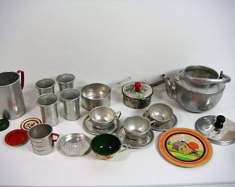 Aluminum Toy Dishes Pretend Play Dishes Cups Pots and Pans Tea Pot