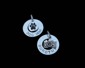 "Washer Combo-Silver Washer Pet ID Tag and ""Dog Mom"" Pendant/Keychain Combo"
