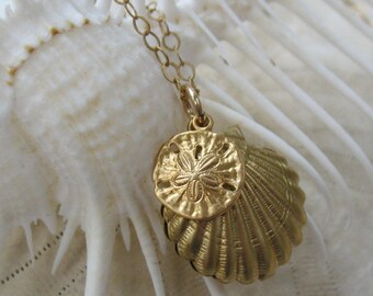 gold seashell necklace, sand dollar necklace, beachcombers necklace, sea themed necklace, delicate seashell necklace, Made in USA