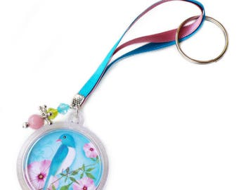 """Keychain """"Rosy"""" blue beads, and Ribbon accessory gift girl"""
