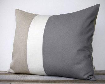 16x20 Color Block Pillow in Gray, Cream and Natural Linen by JillianReneDecor - Minimal Home Decor - Striped Trio - Paloma - Ash Gray