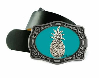 Pineapple Belt Buckle Inlaid in Hand Painted Tuquoise Enamel Tropical Inpired Design Belt Buckle for Snap Belts with Custom Colors Available