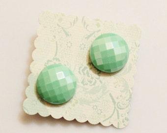 Mint Green Stud Earrings, Button Earrings, Christmas Earrings, Holiday Jewelry