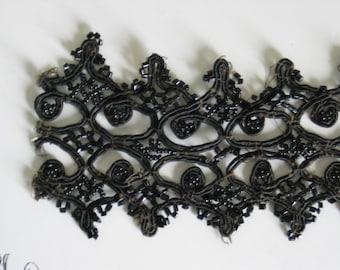 Antique Jet Collar Gorgeous Detailing Wonderful Elegant Pattern Victorian Steampunk Goth