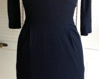 1950s Sleek Black Wool Jersey Dress