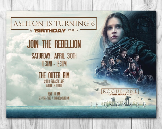 Star Wars Birthday Greeting Free ~ Rogue one invitations star wars invitations star wars