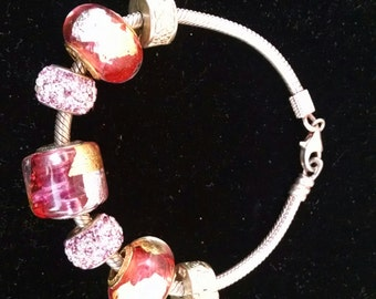 Vintage Designer Signed Perlavita Murano Glass Bead and Sterling Silver Bracelet
