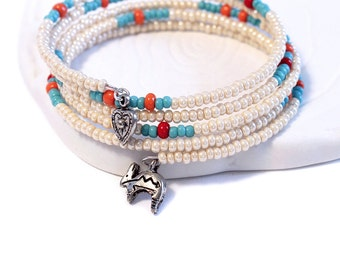 Beaded Wrap Bracelet - Southwestern Charms, Eggshell White, Turquoise Blue, Coral Red Seed Beads, Choice of Charms