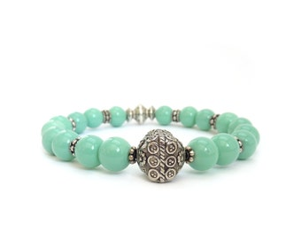 Mint Green Layering Bracelet - Silver Tibetan Focal Bead - Pastel Colors - Bohemian Stretch Bracelet - Summer Jewelry