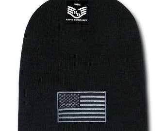 USA Subdued Grey American Flag Embroidered SHORT Beanie Hat (R95-USA2)