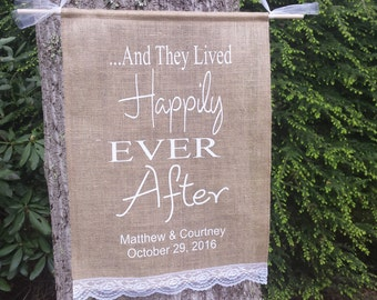 Burlap Banner, They Lived Happily, Rustic Wedding, Burlap Wedding, Personalized Banner, Rustic Wedding, Happily Ever After, Burlap and Lace