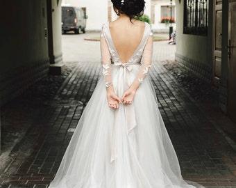 Wedding Dress Off White Tulle,Long Sleeve Lace Bride Dress,Sweetheart Lace Maxi Bridal Dress|Open back wedding dress|2017