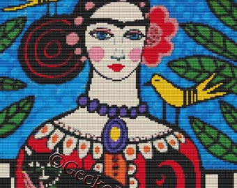 Day of the Dead cross stitch kit by Heather Galler 'Frida Kahlo with Toile Birds', counted cross stitch, modern cross stitch