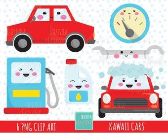 50% SALE Kawaii CARS clipart, car care/car wash/oil change/gas, car clipart, commercial use, kawaii clipart, car graphics, cute images, cars