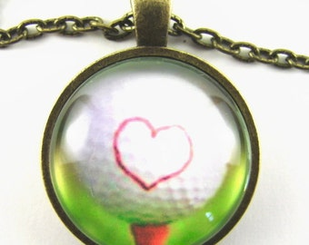 I (HEART) GOLF Necklace -- I love golf necklace, Golf ball with heart marker on a red tee, Fun golf art, Great gift for golf fans