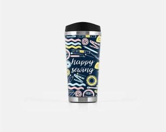 Sewing Mug, Gifts for Sewers, Sewing Gifts, Blue Travel Mug, Cute Coffee Mug, Seamstress Mug, Happy Sewing, Stainless Steel Mug, 16oz