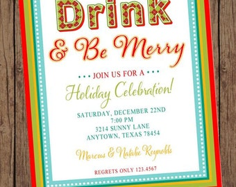 Eat Drink Be Merry Holiday Christmas Invitation - 1.00 each with envelope