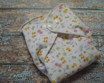 Organic Cotton Winged Prefold-- Ducks and Flowers