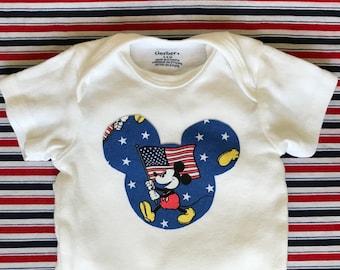 Patriotic Mickey Mouse Gerber Onesie