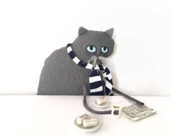 Grey cat doll, handmade pet portrait, small grey linen kitty cat, handmade soft sculpture, cat plush doll, toy cat fibre art, cat lover gift