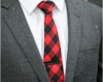 Buffalo Plaid Necktie - Men's Necktie - Red and Black Check Tie