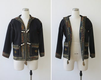 Southwestern Tribal Handmade Jacket, Black Wool Hand Embroidered Black Boho Jacket