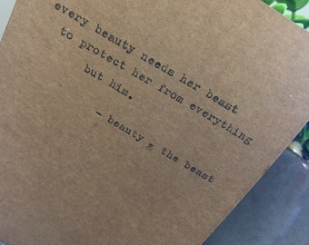 Beauty and the beast quote typewriter card