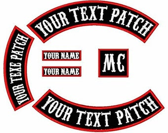 Pack of 6 Biker Patches (Top | Bottom Rockers with Name Tapes)